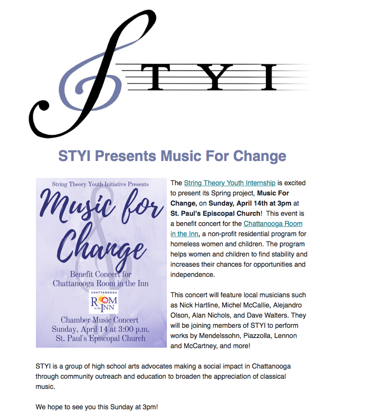 Music for Change Concert by the String Theory Youth Interns